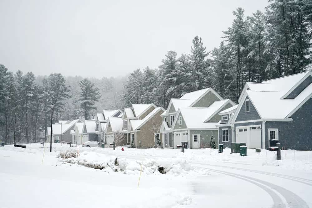 Neighborhood on a winter day after a snowstorm.