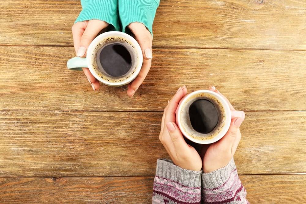 Friends enjoying coffee together.