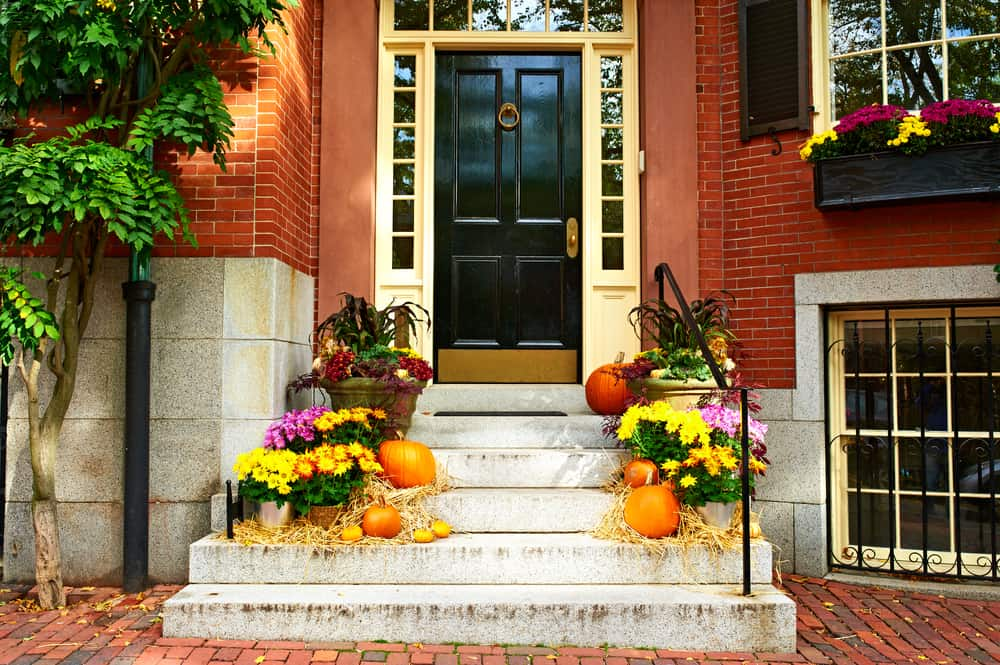 Beautiful doorstep with pumpkins and fall flowers.