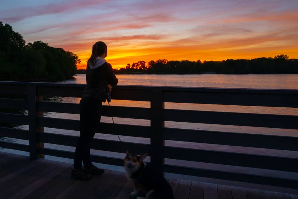 Woman and dog at Mystic River during sunset