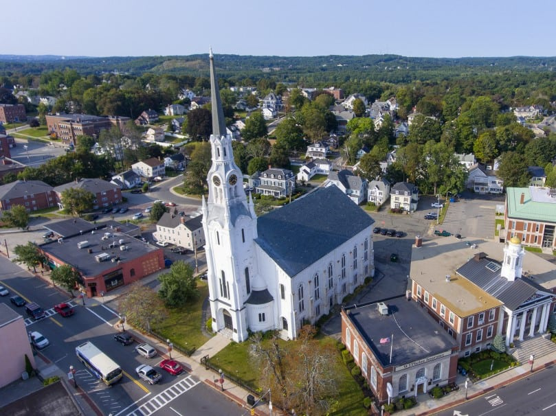 Aerial view of First Church of Woburn