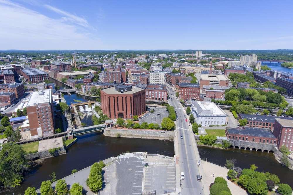 Aerial view of neighborhoods in Lowell, MA