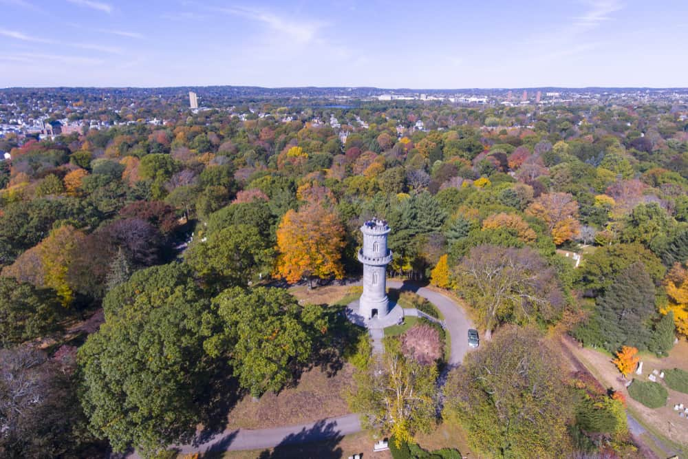 View of Mount Auburn Cemetery in Cambridge, MA