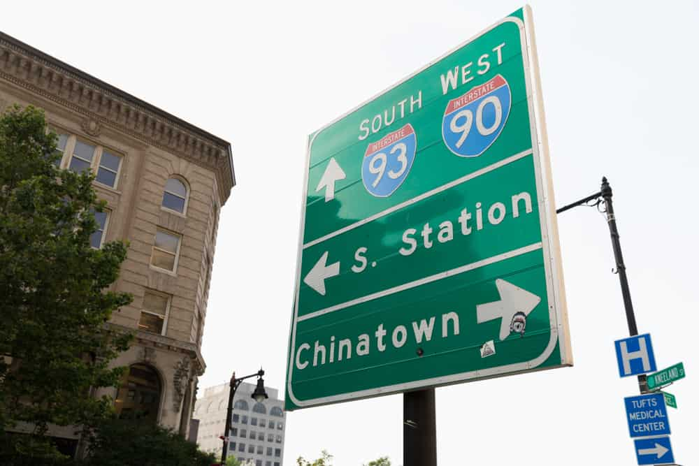 Street sign in Boston for I-93 and I-90