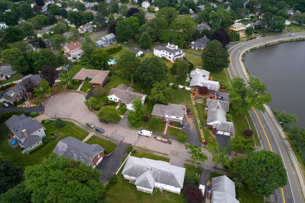 Aerial view of neighborhood in Reading, MA