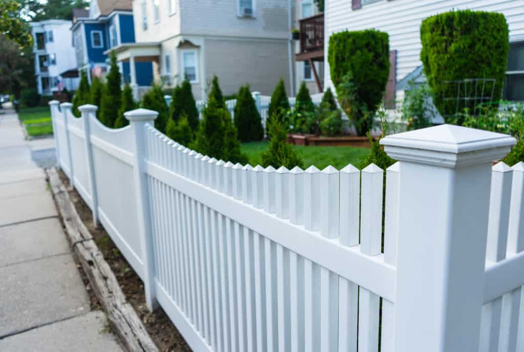 White fence in a Boston Suburb