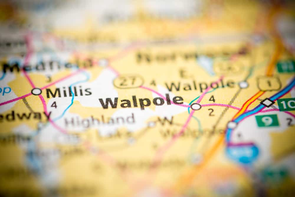 Zoomed in map of Walpole, MA