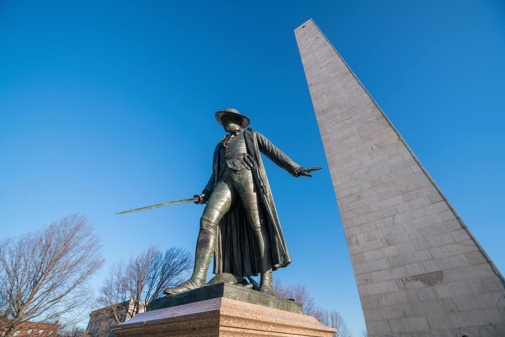 Statue of Col. William Prescott by Bunker Hill Monument in Charlestown